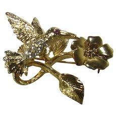 Hummingbird On a Flower Tremblant Pin