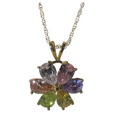 Multi Crystal Floral Pendant On a Gold Tone Adjustable Chain