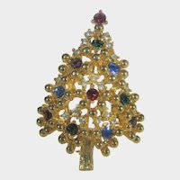 Eisenberg Christmas Tree in Gold Tone With A Variety of Crystals