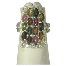 Sterling Silver Tourmaline Gemstone Ring in a Variety of Colors