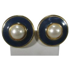 Anne Klein Black Enamel Clip Earrings In Gold Tone with Faux Mabe Pearl Center