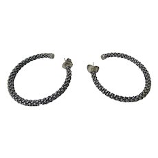 Lagos Caviar Sterling Silver and 18 Karat Hoop Earrings for Pierced Ears