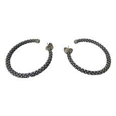 Lagos Caviar Sterling Silver and 18 Karat Hoop Earrings for Pierced Ears