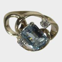 14 Karat Yellow Gold Aquamarine and Diamond Ring