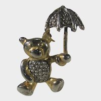 Teddy Bear With Parasol Pin In Silver Tone and Gold Tone