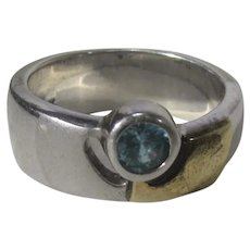 Sterling Silver and 18 Karat Yellow Gold Ring with Blue Zircon