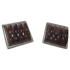 Sterling Silver Clip On Earrings With Lucite Centers In Unusual Red and Brown Tone
