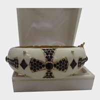 Enamelled and Bejewelled Cuff With Black Crystals on Cream and Gold Tone