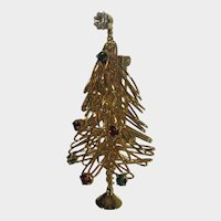 Gold Tone Wire Christmas Tree with Jewel Tone Crystals