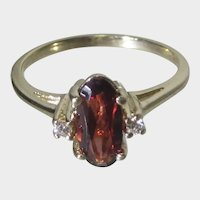 14 Karat Yellow Gold Rubelite Tourmaline and Diamond Ring