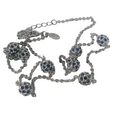 Vintage Nolan Miller Silver Tone Necklace With Blue Crystal Stations