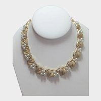 Vintage Trifari Brushed Gold Tone Finish Necklace With Faux Pearls