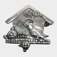 Sterling Silver Birdhouse Pin With Bird Holding Valentine
