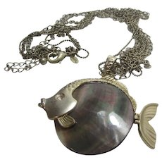 Chico's Mother of Pearl Fish Pendant With Moving Tail on Multiple Chain Necklace