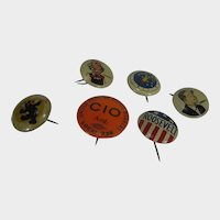 Six 1930's - 40's Pin Collection Comedy, Historical Selection