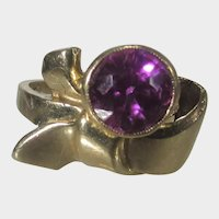 14 Karat Yellow Gold Retro Ring With Synthetic Ruby