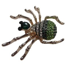 Gold Tone Spider Pin With Green, Clear and Blue Crystals