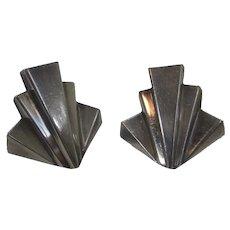 Sterling Silver Elyse Modernist Designer Clip On Earrings