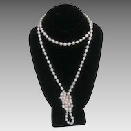 "46"" Long Cultured Fresh Water Rose Tone Pearls with 14 Karat Yellow Gold Clasp"