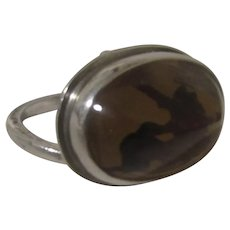 Sterling Silver Ring Artist Signed With Amber Center