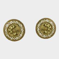Vintage Cori Gold Tone Clip On Earrings Ancient Peruvian Theme