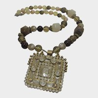 Vintage Beaded Necklace With Ancient Look Square Enamelled Pendant