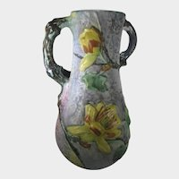 Weller Silvertone Art Pottery Yellow Flower and Root Handles Circa 1925-30