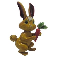 Vintage JJ Enamelled Bunny with Carrot Pin
