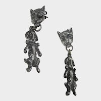 Sterling Silver Cat and Dog Earrings for Pierced Ears