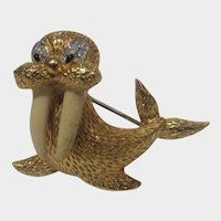 Vintage Jomaz Gold Tone Walrus With Enamelled Tusks