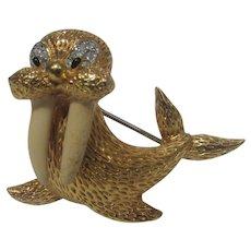 Vintage Jomaz Gold Tone Walrus With Enamelled Tusks