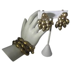 Crown Trifari  Mid Century Set With Gold Tone Faux Pearl Bracelet and Matching Clip On Earrings
