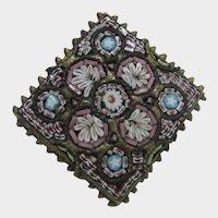 Micro Mosaic Pendant Circa 1900 In Floral Pattern Original C Clasp