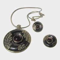 Vintage Chico's Set With Necklace and Matching Pierced Earrings in Gold Tone Charcoal Enamel and Red Glass Accent