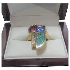 Kabana 14 Karat Yellow Gold Deco Design Ring With Tanzanite, Inlaid Opal, Tourmaline and Diamonds