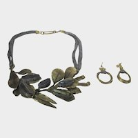Vintage Mid Century Modern Necklace and Matching Pierced Earrings in Brushed Gold Tone and Black Glass Accents