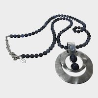 Vintage Chico's Faux Lapis Bead Necklace With Sterling Silver Pendant