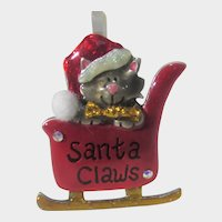 Santa Claws In a Sleigh by AJMC of Pittsburgh Enamelled Pin