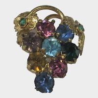 Vintage Checko Gold Tone Pin With A Variety of Crystals