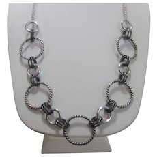 Necklace With Oxidized Loops In Silver Tone