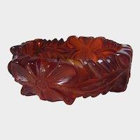 Bakelite Translucent Carved Cherry Juice Bangle