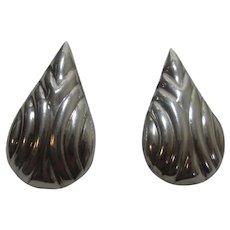 Sterling Silver Taxco Tear Drop Embossed Earrings for Pierced Ears