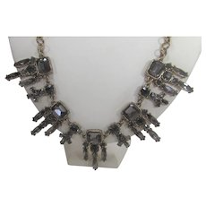 Vintage Necklace Loaded With Grey and Blue Crystals