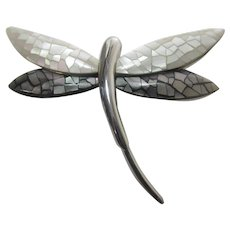 Dragonfly Pin In Sleek Silver Tone with Abalone and Mother of Pearl Wings