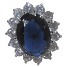 Kenneth J. Lane Costume Ring With Faux Sapphire and Clear Crystals