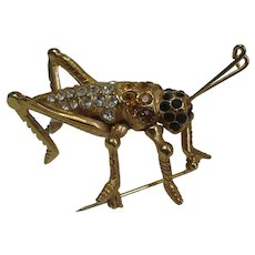 Gold Tone Grasshopper Covered in Clear Amber and Black Crystals