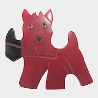 Bakelite Scottie Dog Pin with Red Body and Black Bow