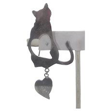 Sterling Silver Cat With Heart Pin