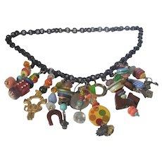 Bakelite Fantasy Necklace on Black Lucite Chain