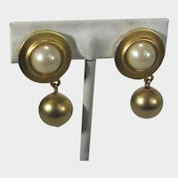 Gold Tone Clip On Earrings With Faux Pearls